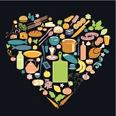Heart shape composed of food and kitchen utensils. Eps and hi-res jpg. Looks same good either on dark or white background.