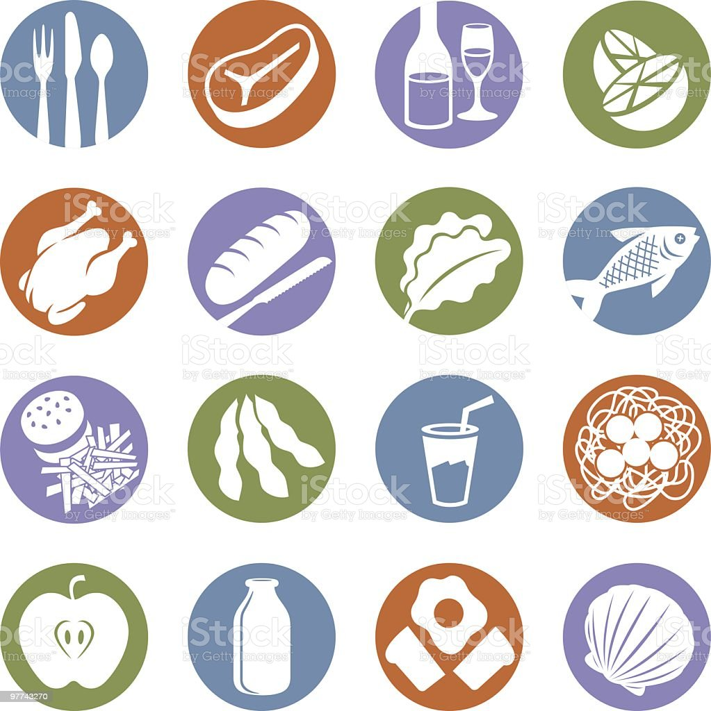 Food Service Icons vector art illustration