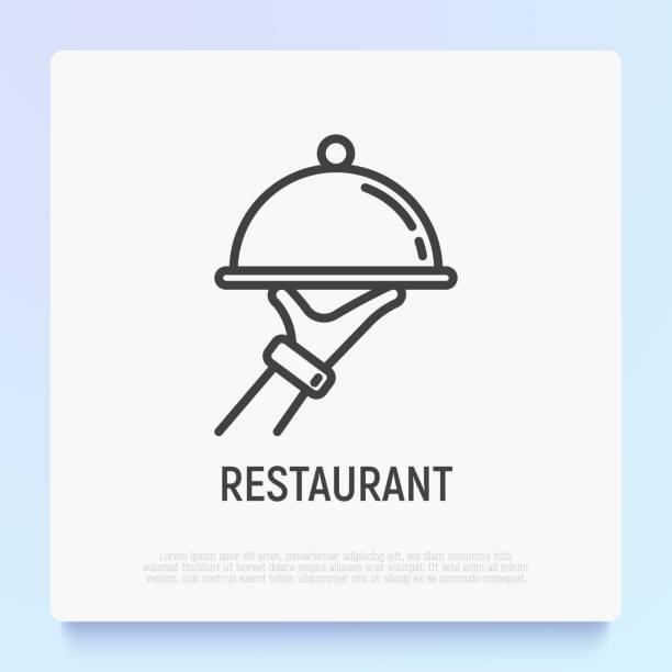 stockillustraties, clipart, cartoons en iconen met food service thin line icoon: cloche in de hand van de ober. moderne vector illustratie van restaurant levering. - voedsel en drank serveren