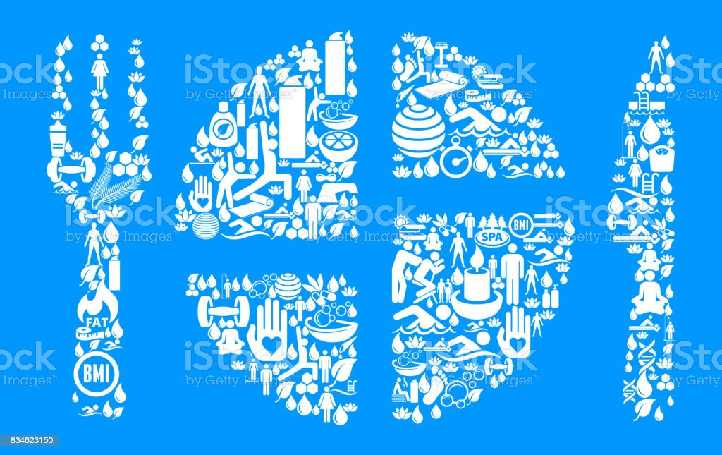 Food Serving  Health and Wellness Icon Set Blue Background vector art illustration