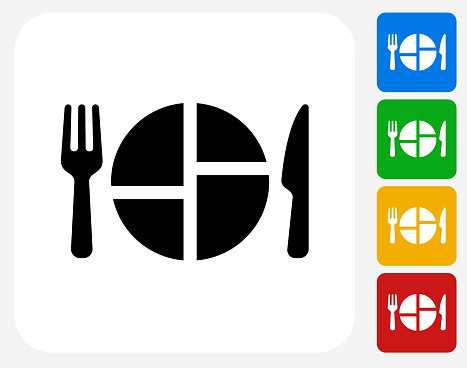 Food Serving Icon Flat Graphic Design
