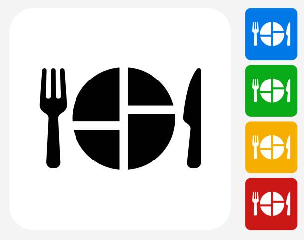 stockillustraties, clipart, cartoons en iconen met food serving icon flat graphic design - portie
