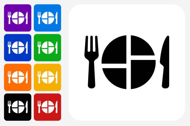 essen servieren symbol square buttonset - portion stock-grafiken, -clipart, -cartoons und -symbole