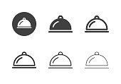Food Serving Tray Icons Multi Series Vector EPS File.