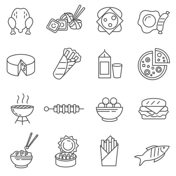 bildbanksillustrationer, clip art samt tecknat material och ikoner med mat. av rad ikoner - cheese sandwich