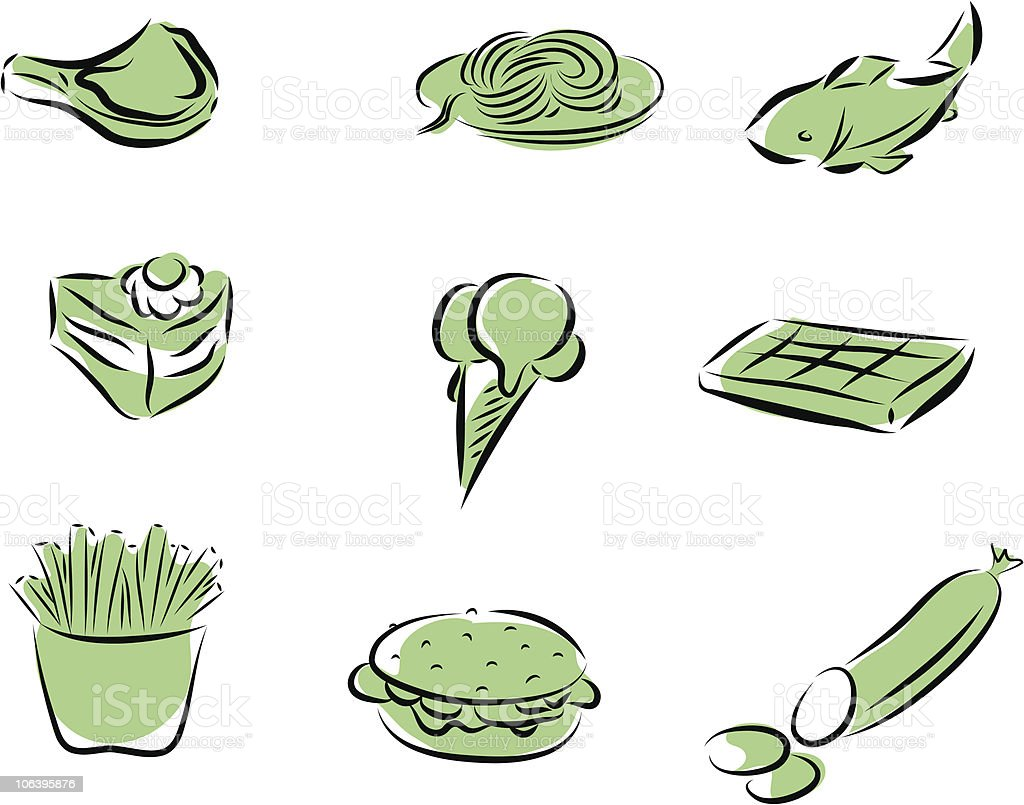 food set royalty-free food set stock vector art & more images of cake