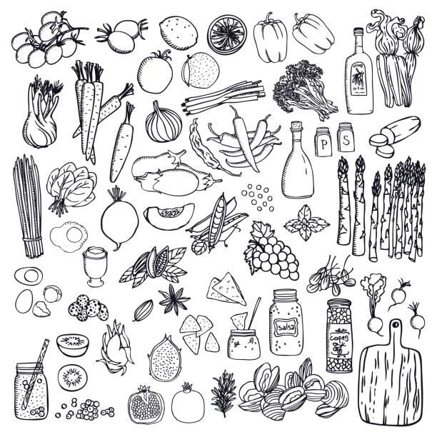 lebensmittel set gemüse und früchte schwarz isolierte objekte - feigensalat stock-grafiken, -clipart, -cartoons und -symbole