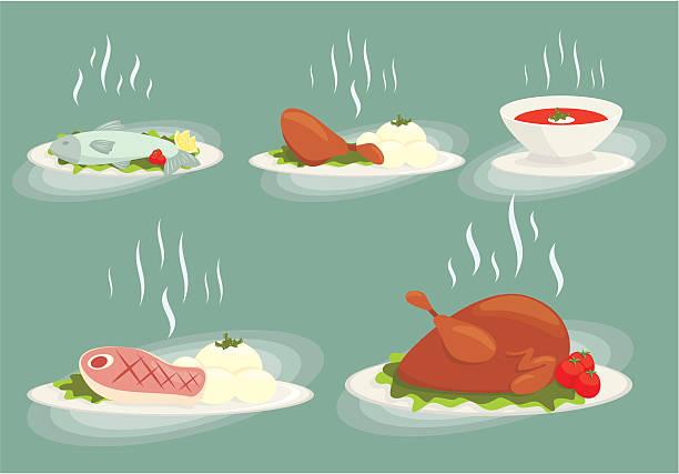 食品セット vol1 - 魚の骨点のイラスト素材/クリップアート素材/マンガ素材/アイコン素材