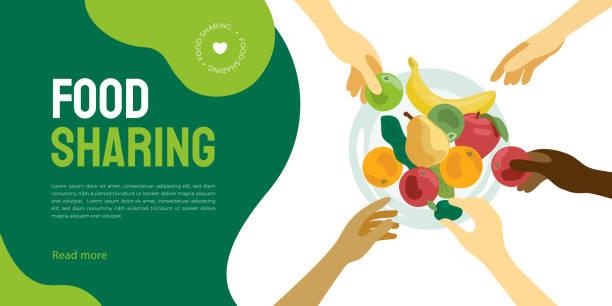 Food sharing project illustration – artystyczna grafika wektorowa