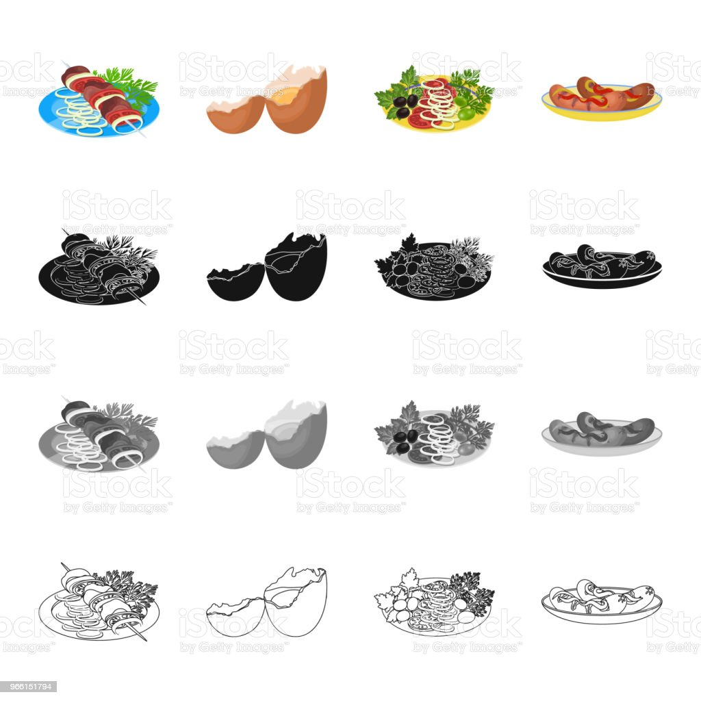 Food, shish kebab on a plate, broken egg, vegetable salad, fried sausages with seasoning. Food and Cooking set collection icons in cartoon black monochrome outline style vector symbol stock illustration isometric web. - Royalty-free Appliance stock vector