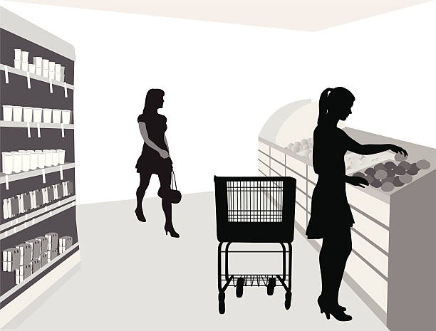Food Shoppin' Vector Silhouette A-Digit grocery aisle stock illustrations