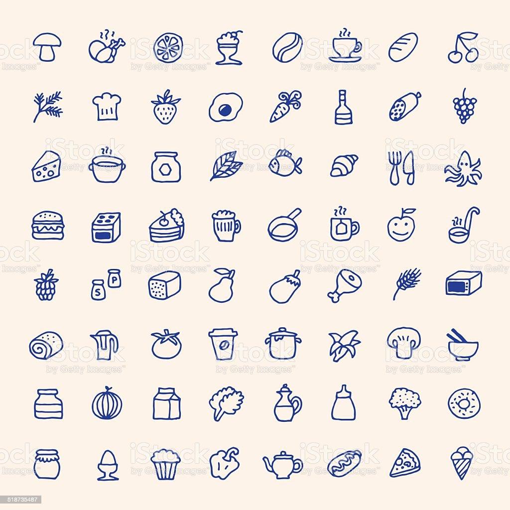 Food Einfache Symbole Set Vektorillustration Hand Drawn Stock Vektor ...