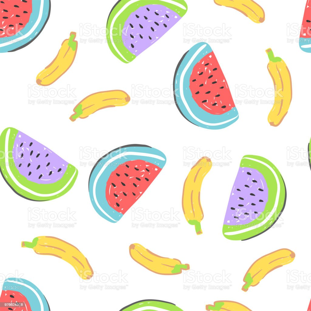 Food Simple Sketh Drawn Hand Seamless Pattern With Banana Watermelon ...
