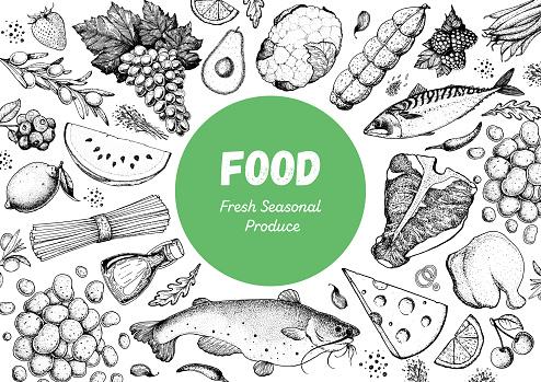 Food sketch. Vector illustration. Vegetables, fruits, meat hand drawn. Organic food set. Good nutrition pattern. Hand drawn food design elements.