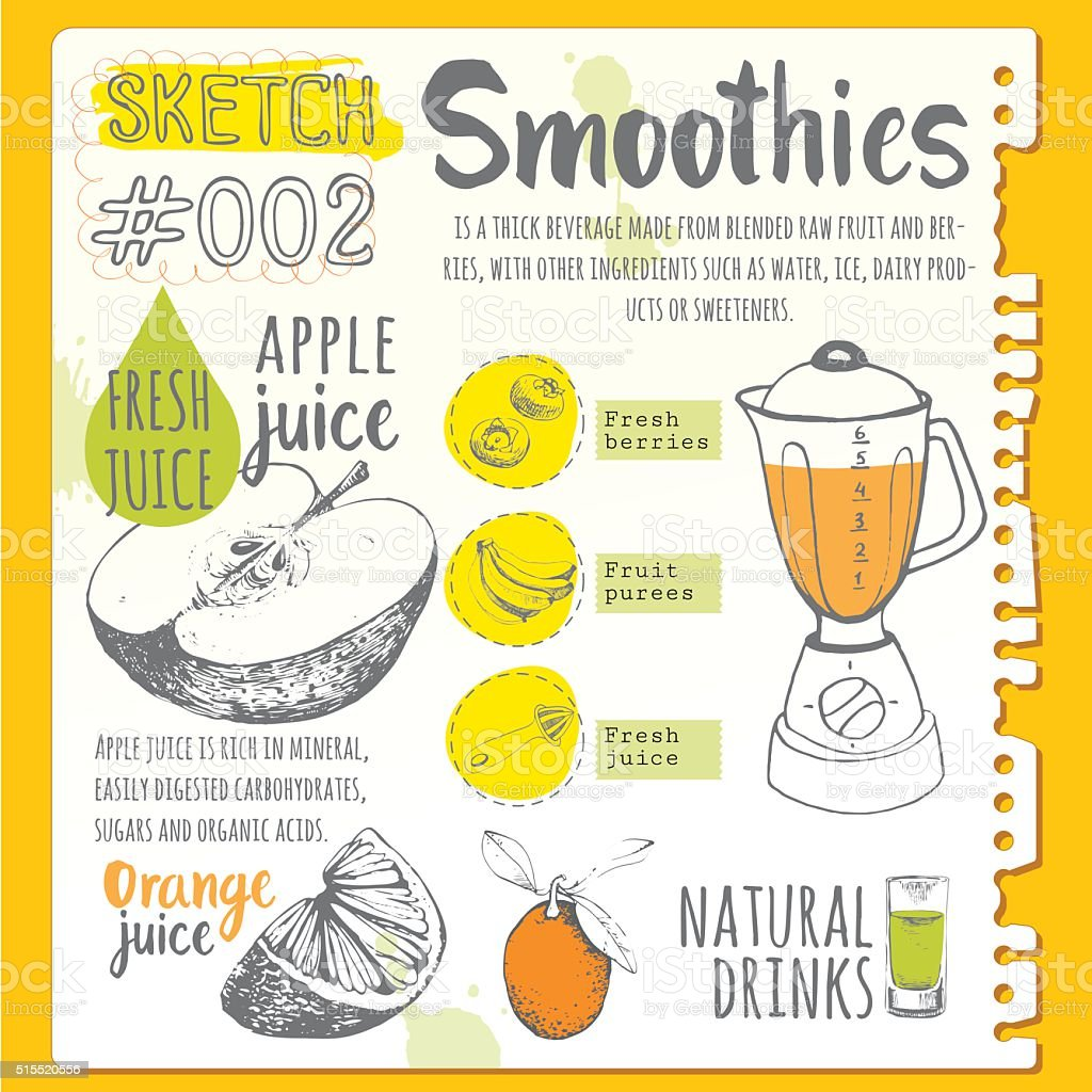 Food sketchbook. Useful drinks in sketch style. vector art illustration