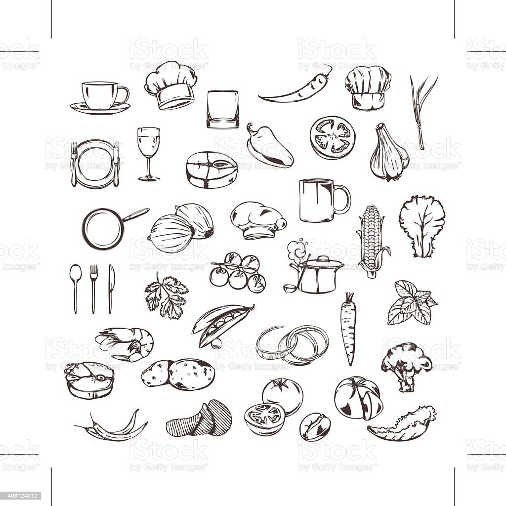 Food, sketches of icons, vector set vector art illustration