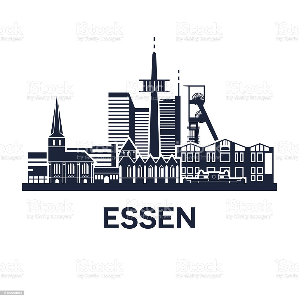 Essen Skyline Emblem vector art illustration