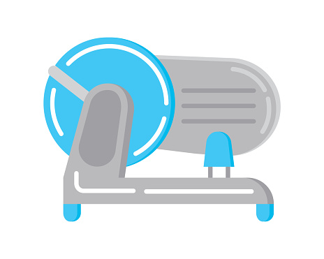 Food slicer flat icon vector. Kitchen small appliances sign.