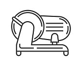 Food slicer pixel perfect icon vector. Kitchen small appliances line sign. Household tools symbol for app, web.