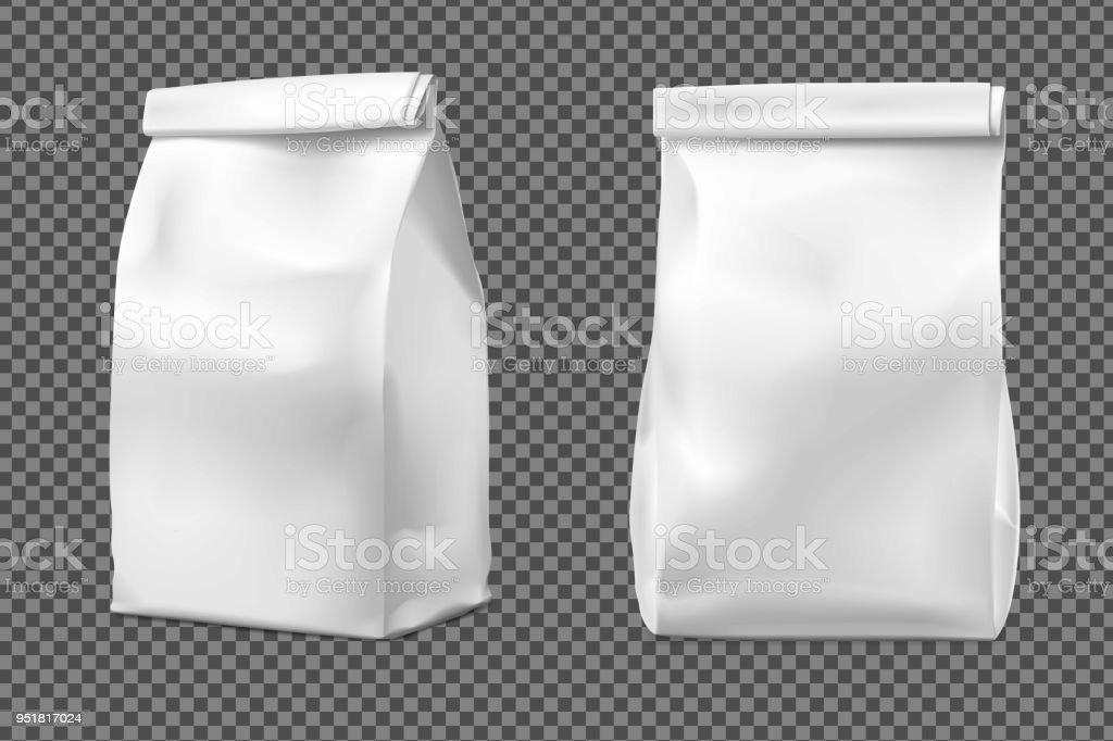Food snack bag on transparent background. vector art illustration