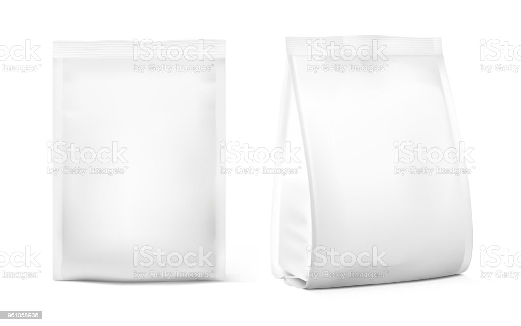 Food snack bags isolated on white background. - Royalty-free Aluminum stock vector
