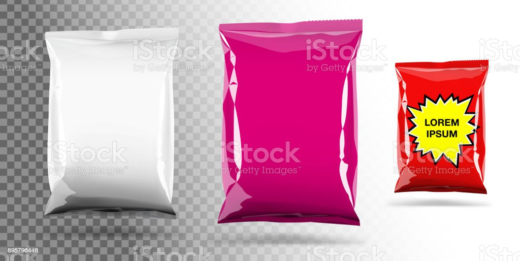 Food snack pillow bag on transparent background. vector art illustration