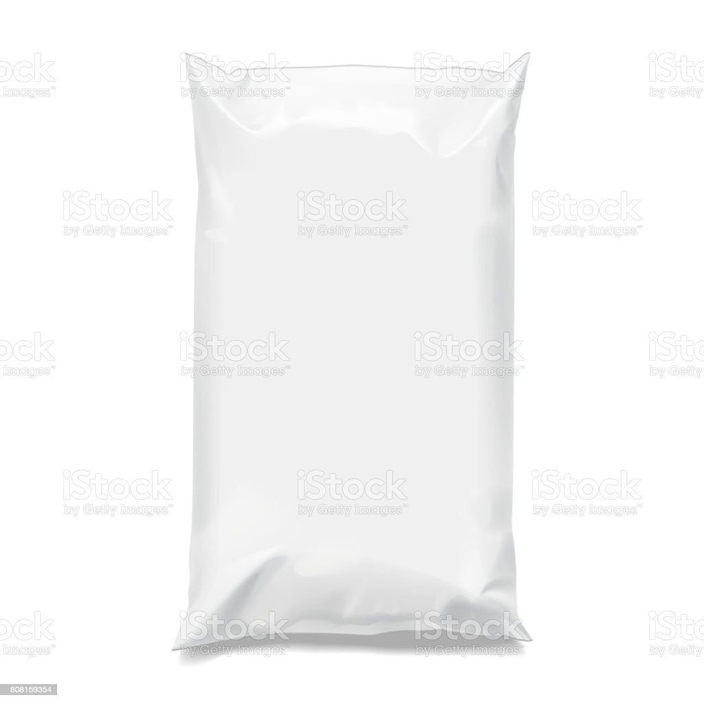 Food snack pillow Realistic package. vector art illustration