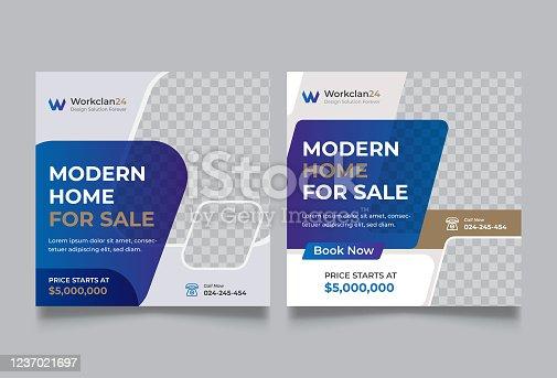 Car Rental and Real estate social media banners post template set
