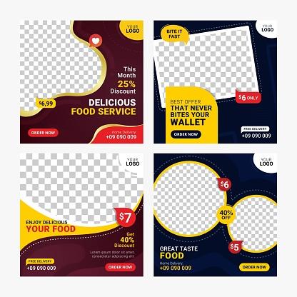 Food social media banners post template set