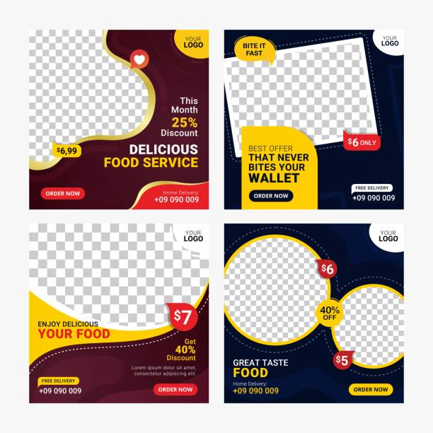 food social-media-banner posten vorlage set - webtemplate stock-grafiken, -clipart, -cartoons und -symbole