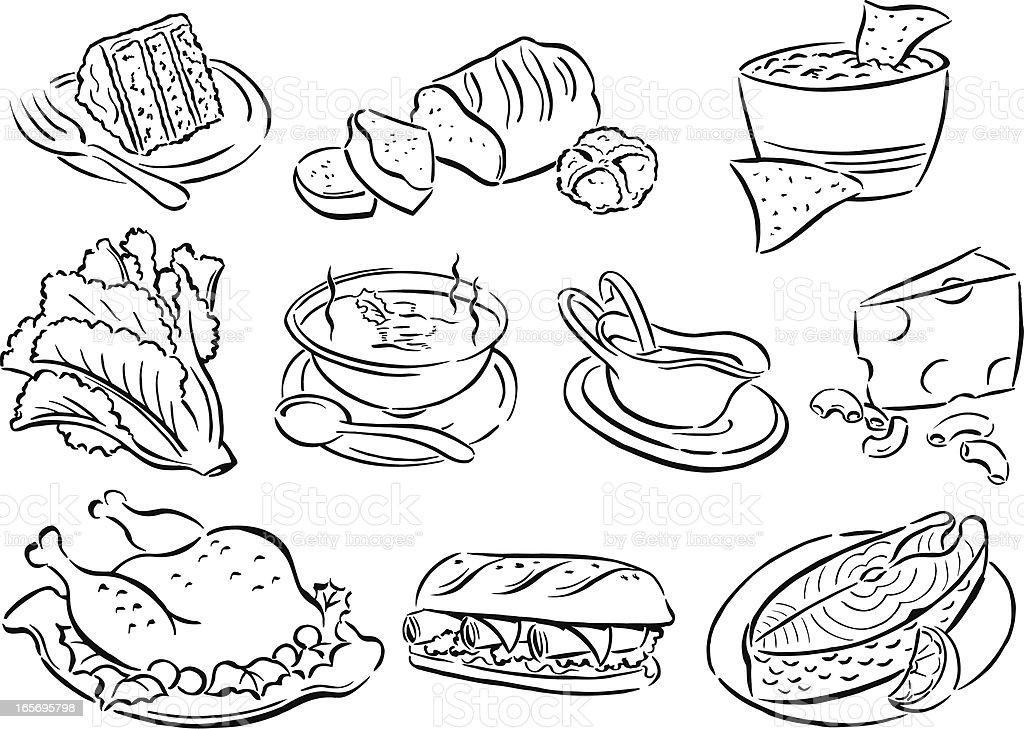 Food, Soup, Dinner, Lunch, Salad, Cake, Cheese, Turkey, Salmon vector art illustration
