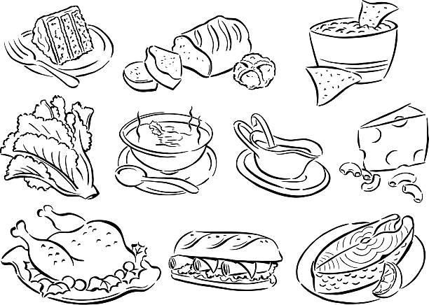 speisen, suppen, mittagessen, abendessen, salate, kuchen, käse, türkei, lachs - lachskuchen stock-grafiken, -clipart, -cartoons und -symbole