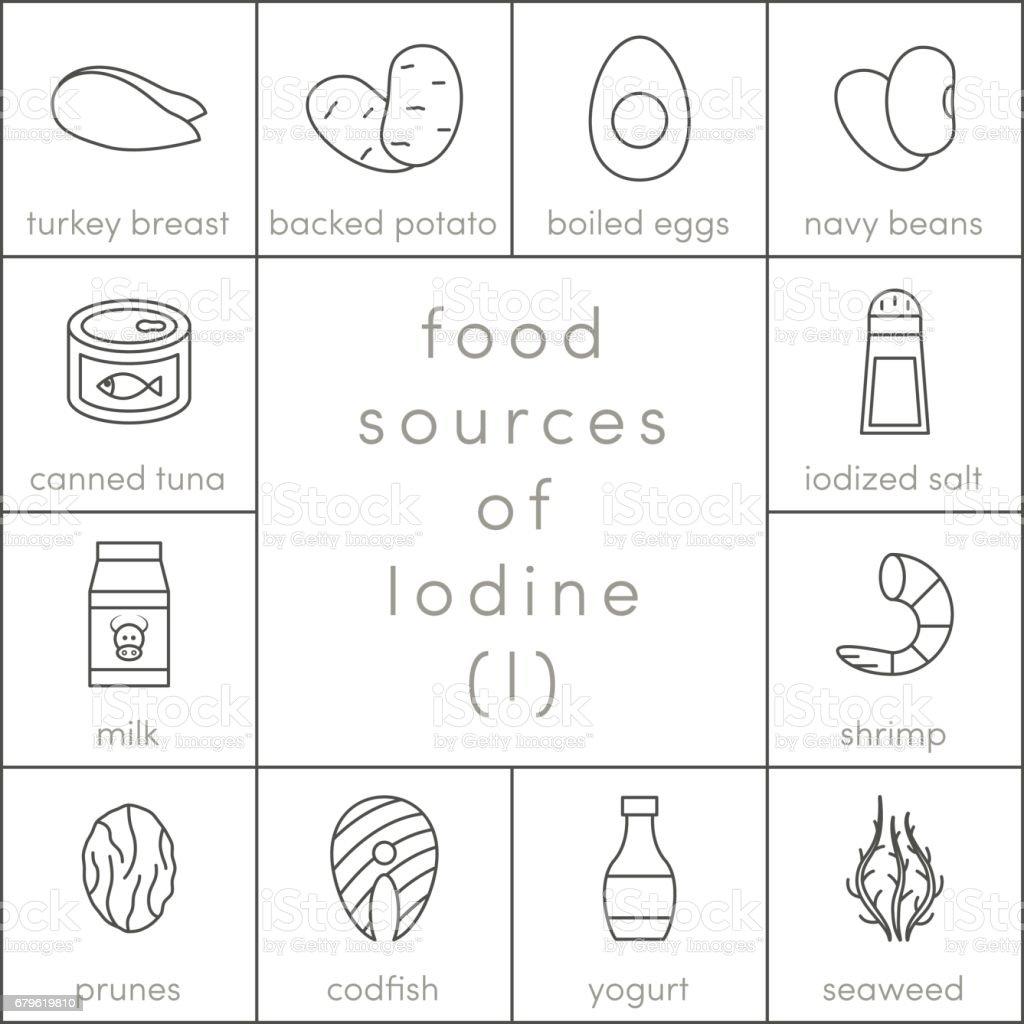 Food sources of iodine vector art illustration