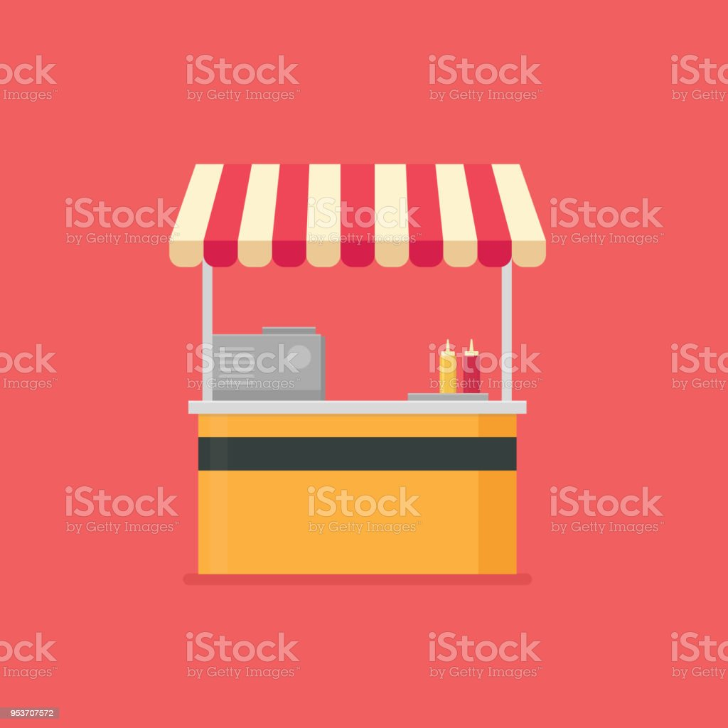 Food stall, Food vending cart, fast food cafe vector art illustration
