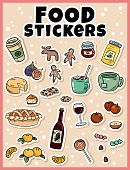 Food sticker set. Stickers, pins, patches and labels collection in cartoon comic style