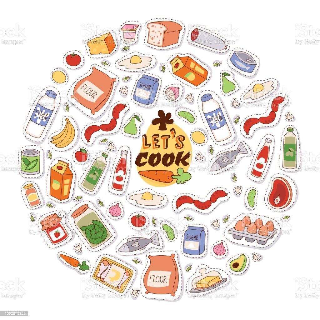 Illustration Vectorielle De Nourriture Autocollants Fond