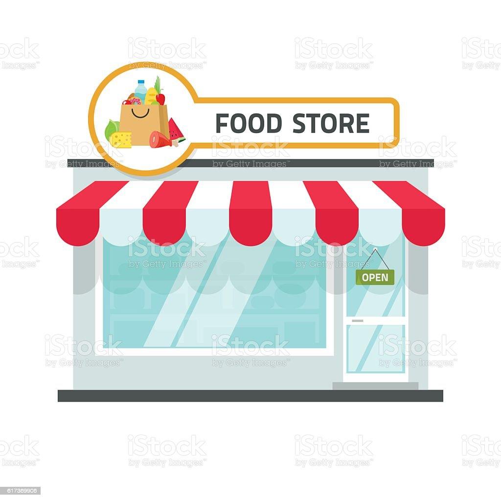 Food store building vector illustration, grocery shop facade storefront vector art illustration