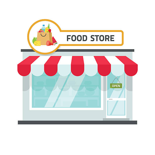 illustrations, cliparts, dessins animés et icônes de food store building vector illustration, grocery shop facade storefront - vitrine magasin
