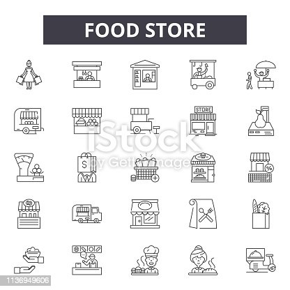 Food store line icons for web and mobile. Editable stroke signs. Food store  outline concept illustrations