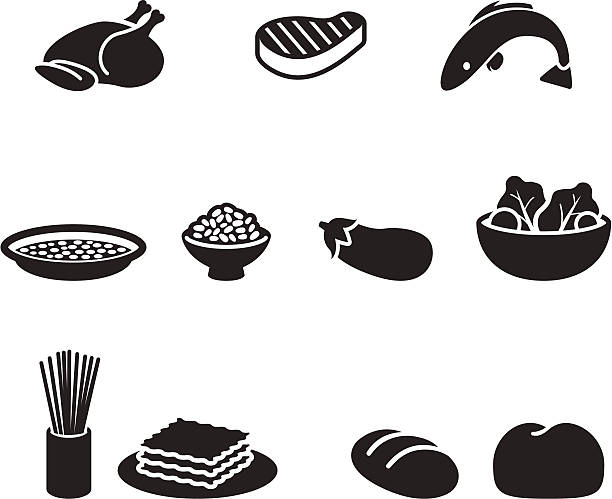 Food symbols Several food pictograms in black color. poultry stock illustrations