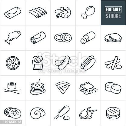 A set college food icons that include editable strokes or outlines using the EPS vector file. The icons include a burrito, ribs, shrimp Alfredo, chicken leg, fish, breakfast burrito, onion rings, pepperoni, clams, pizza, french fries, hot dog, sausage, sushi, pancakes, crab, scallops, bagel, calamari, corn dog, lamb chop and grilled cheese to name a few.
