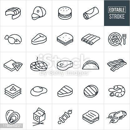 A set of food icons that include editable strokes or outlines using the EPS vector file. The icons include salmon, ham, hamburger, burrito, turkey, steak, sandwich, ribs, spaghetti, pizza, waffles, pork chop, taco, bacon, lasagna, egg, shrimp Alfredo, clams, Chinese food, shish kabob, grilled cheese sandwich and lobster.