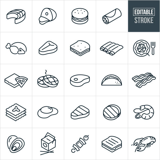 bildbanksillustrationer, clip art samt tecknat material och ikoner med mat tunna linje ikoner-redigerbar stroke - kött