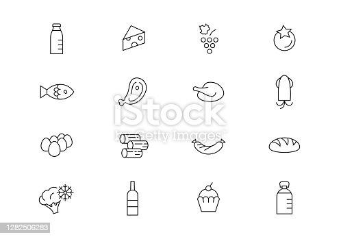 Food thin line vector icons. Editable stroke