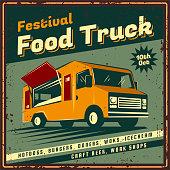 The poster in vintage style, retro food truck banner, emblem, signboard. Vector illustration of retro street food festival. Illustration grunge texture.