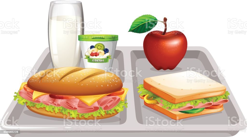 Food tray with milk and sandwiches vector art illustration