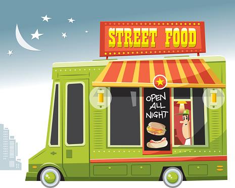 Food truck at night