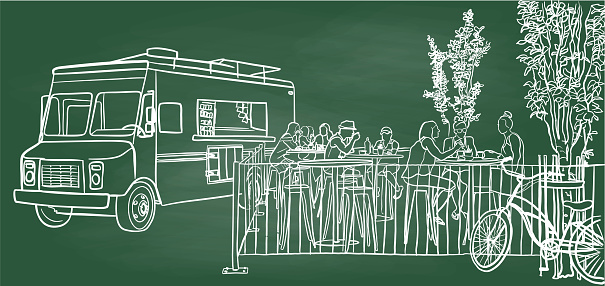 Food Truck At Noon Chalkboard