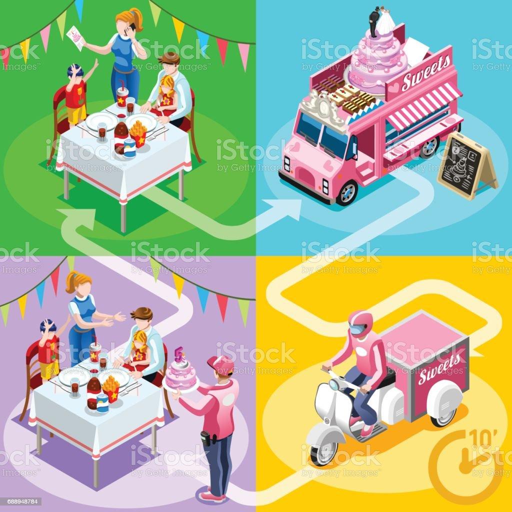 Lebensmittel Truck Geburtstag Kuchen Nach Hause Lieferung Vektor