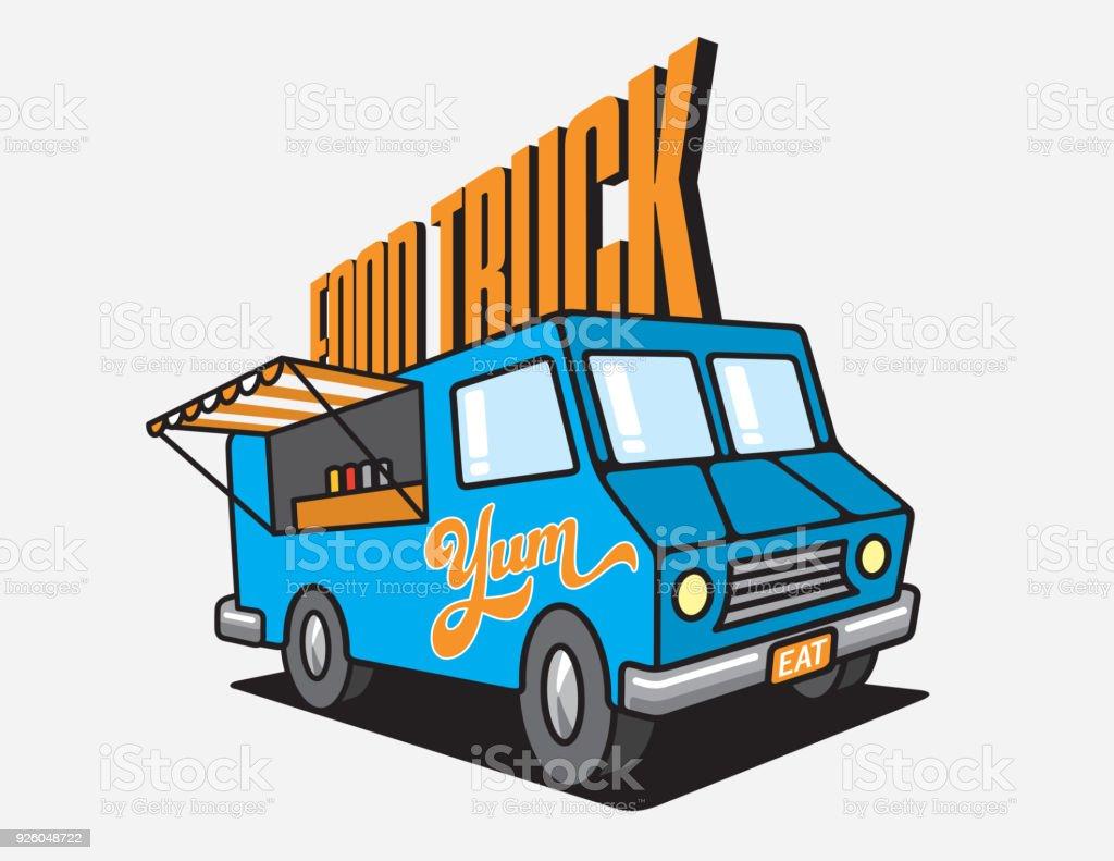 Food Truck Cartoon Vector Illustration. vector art illustration